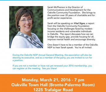Oakville NDP Annual General Meeting on March 21